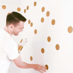 BugyBagy Gold Yuvarlak Duvar Sticker Polska Dots Büyük 100 Adet 5 cm.