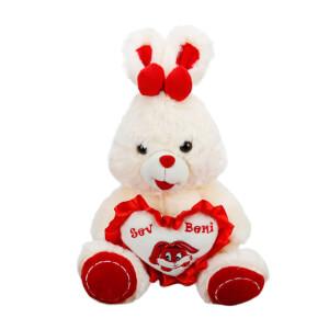 Kalpli Oturan Tavşan Peluş 38 cm.