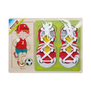 Woody Ahşap Puzzle Ayakkabı Bağlama 16 Parça