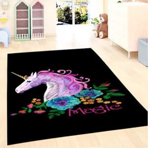 Firstmoon Unicorn Magic Çocuk Halısı Siyah 100 x 160 cm.