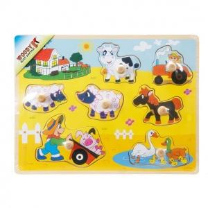 Woody Çiftlik Hayvanlar Ahşap Raptiyeli Bultak 7 Parça