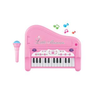 Sesli ve Işıklı Mutlu Piyanist Mikrofonlu Piyano