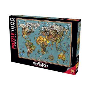 1000 Parça Puzzle : Kelebekli Dünya Haritası