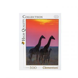 500 Parça Puzzle : HQ.Family Of Masai Giraffe At Sun