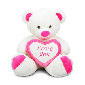 Oturan Love Kalpli Peluş Ayı 58 cm.