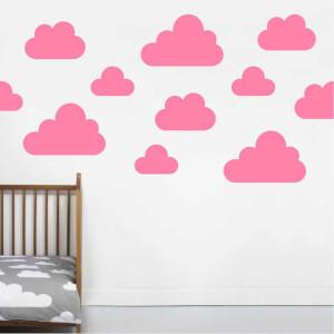 BugyBagy Pembe Duvar Sticker Karışık Bulutlar 74 Adet