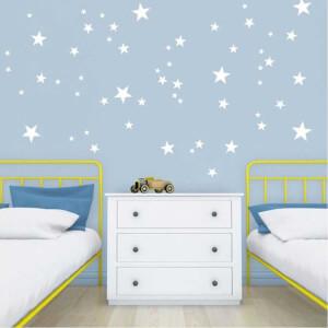 BugyBagy Beyaz Duvar Sticker Yıldız Yağmuru 100 Adet