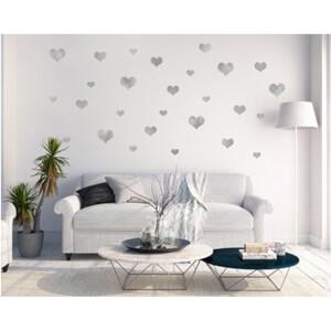BugyBagy Gümüş Duvar Sticker Kalp Yağmuru  97 Adet