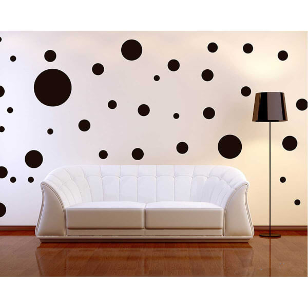 BugyBagy Siyah Yuvarlak Duvar Sticker Polska Dots Karışık 180 Adet