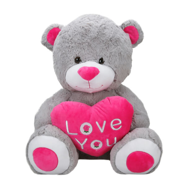 Oturan Love Kalpli Peluş Ayı 60 cm.