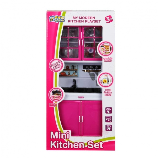 Sesli ve Işıklı Tek Bölmeli Mini Mutfak Seti