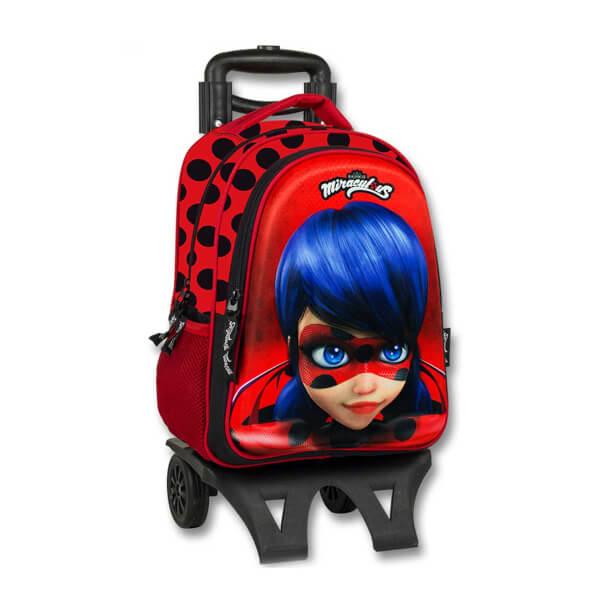 Miraculous Ladybug Çekçekli Okul Çantası Kırmızı-Siyah 2036