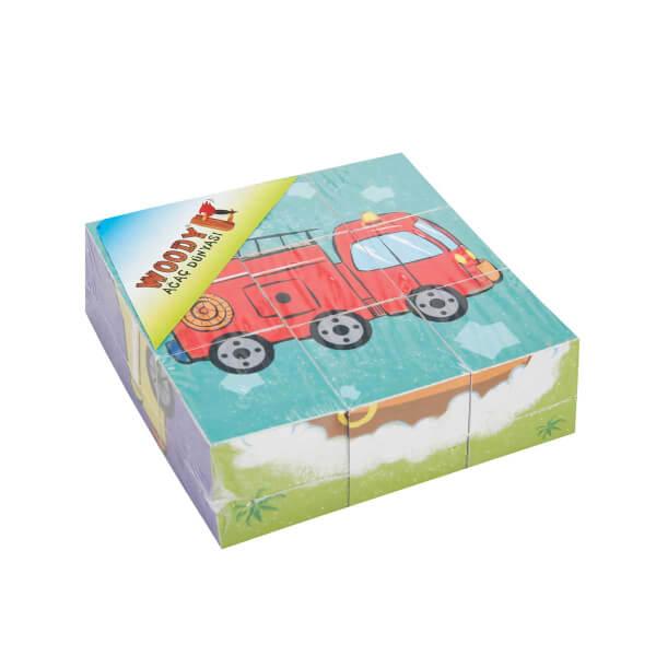 Woody Ahşap Küp Puzzle İtfaiye Aracı 9 Parça