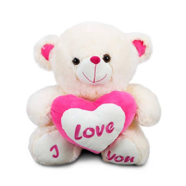 Peluş Oturan Love Kalpli Ayı 43 cm.