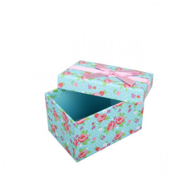 Çiçek Desenli 4'lü Set Hediye Kutusu Mavi