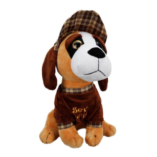 Şapkalı Oturan Peluş Köpek 30 cm.