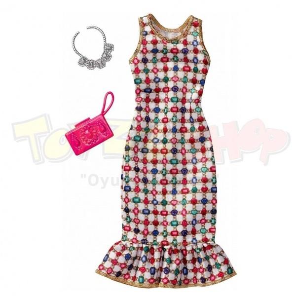 c73f9863eee6d Barbie'nin Şık Kıyafetleri - Pembe Büyük Çiçekli Elbise | Toyzz Shop
