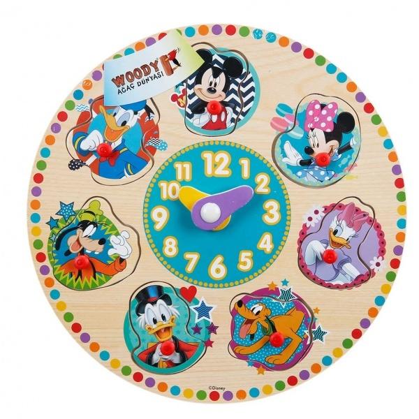 Mickey Mouse Ahşap Bultak Raptiyeli Saat
