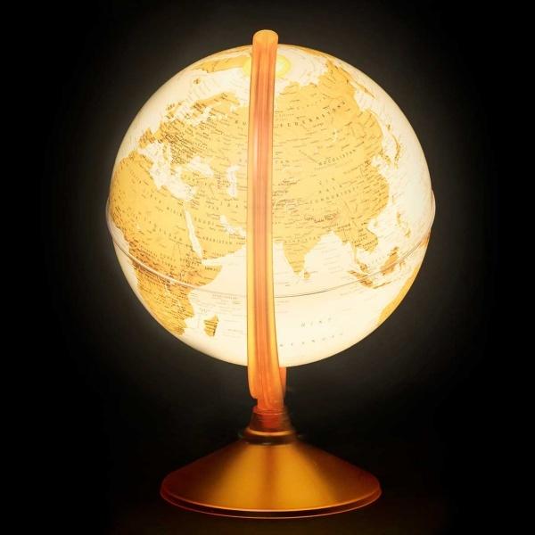 Işıklı Fiziki - Siyasi Turuncu Dünya Küresi 26 cm.