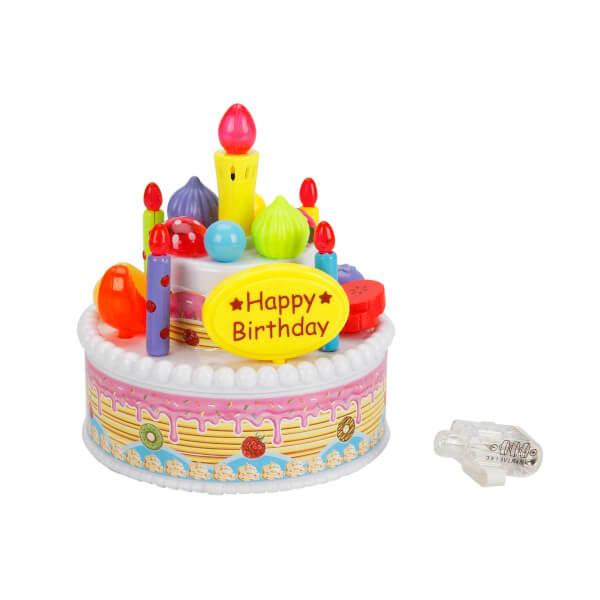 Muzikli Ve Isikli Dogum Gunu Pastasi Mavi Happy Birthday Toyzz