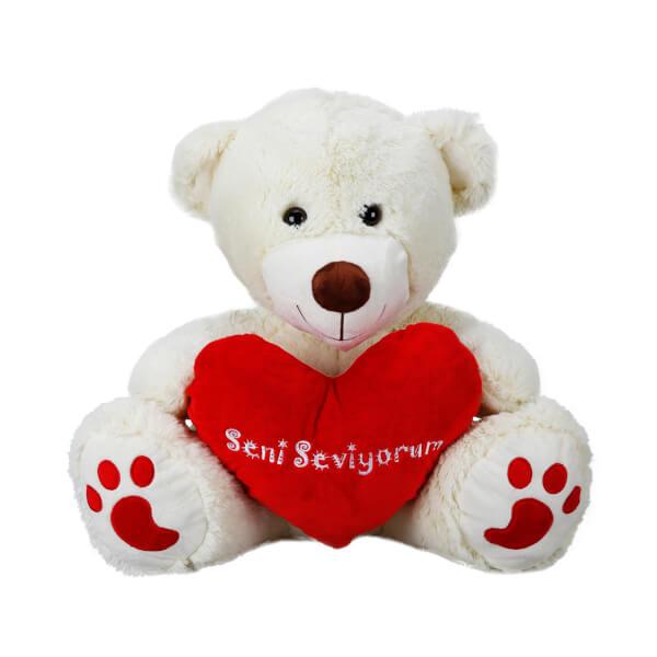 Oturan Seni Seviyorum Kalpli Peluş Ayı 60 cm.