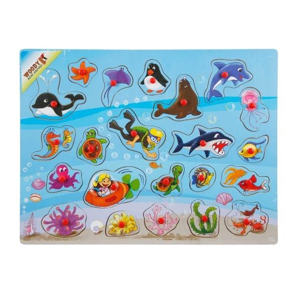 Woody Deniz Hayvanları Ahşap Raptiyeli Puzzle 22 Parça