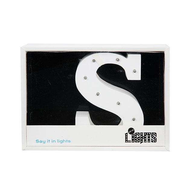 Dekoratif Ahşap Işıklı S harfi 16 cm.