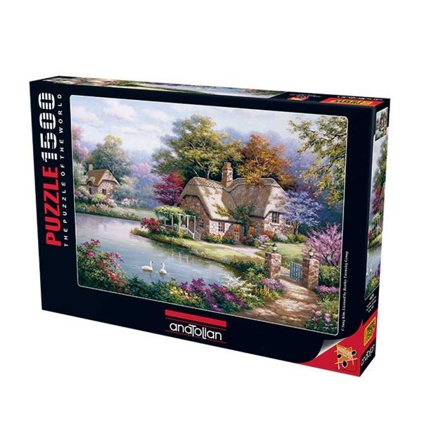 1500 Parça Puzzle : Kuğular ve Kır Evi