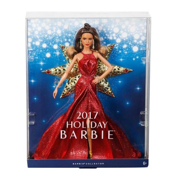Mutlu Yıllar 2017 Barbie - Kumral Kırmızı Elbiseli DYX41