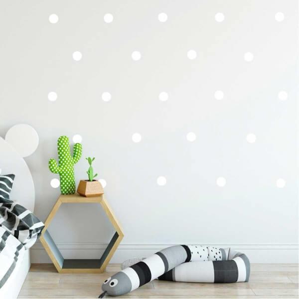 BugyBagy Beyaz Yuvarlak Duvar Sticker Polska Dots Küçük 200 Adet 3 cm.