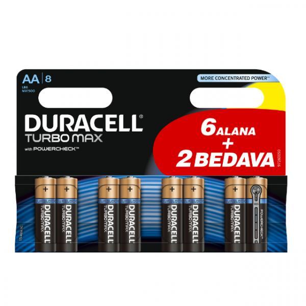 Duracell Kalem Pil Turbo Max AA 6+2