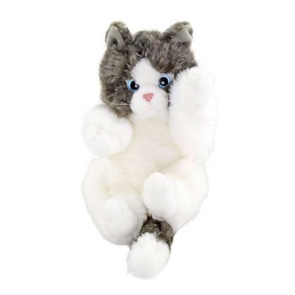 Oyuncu Yavru Kedicik Gri-Beyaz Peluş 24 cm.