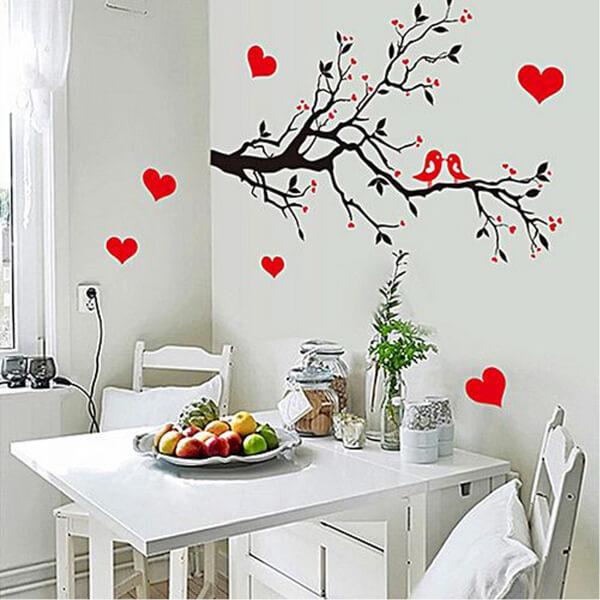 BugyBagy Kırmızı Duvar Sticker Kalp Yağmuru 97 Adet