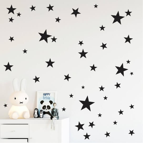 BugyBagy Siyah Duvar Sticker Yıldız Yağmuru 100 Adet