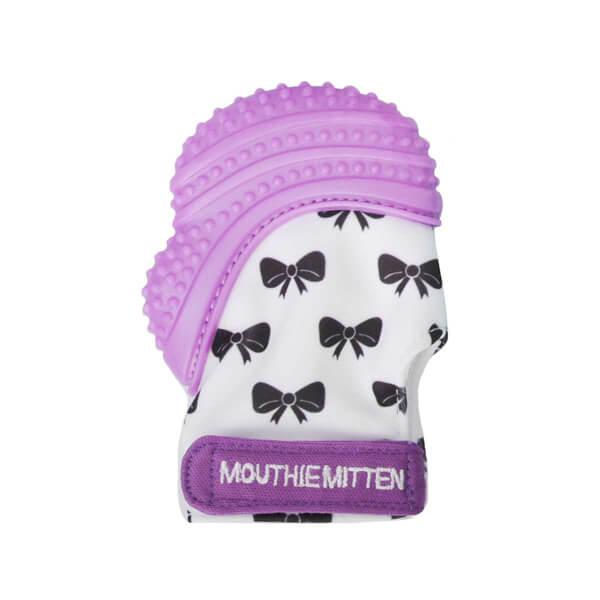 Mouthie Mitten Diş Kaşıyıcı Fiyonk Desenli Mor Eldiven