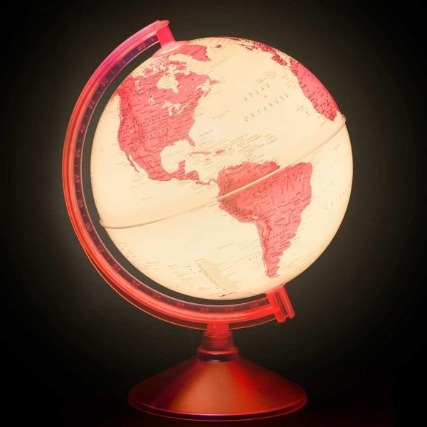 Işıklı Fiziki - Siyasi Pembe Dünya Küresi 26 cm.