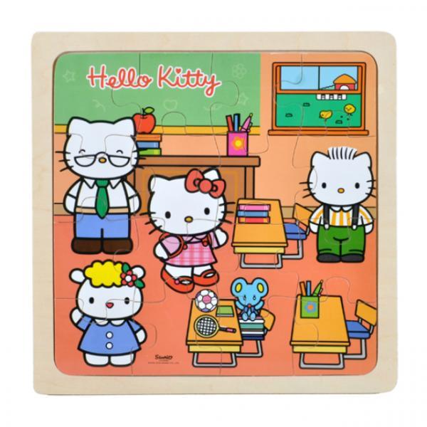 Hello Kitty Sınıfta Ahşap Puzzle